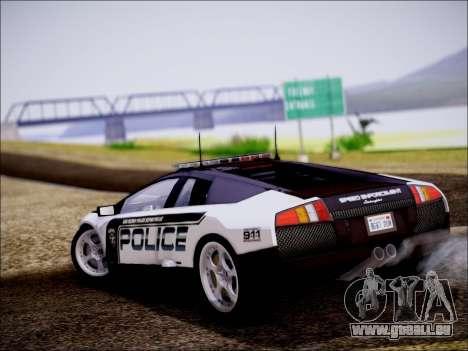 Lamborghini Murciélago Police 2005 pour GTA San Andreas sur la vue arrière gauche