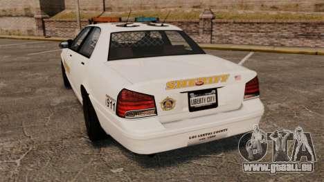 GTA V Police Vapid Cruiser Sheriff pour GTA 4 Vue arrière de la gauche