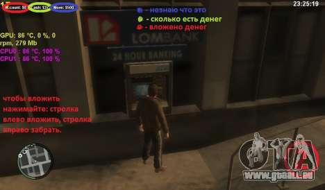 Compte au guichet automatique pour GTA 4 troisième écran