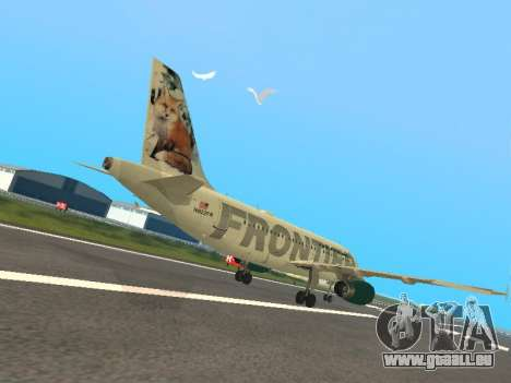 Airbus A319-111 Frontier Airlines Red Foxy pour GTA San Andreas vue de droite