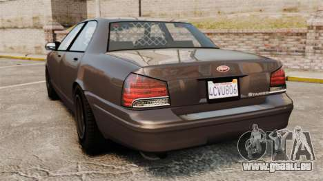 GTA V Unmarked Cruiser Police pour GTA 4 Vue arrière de la gauche