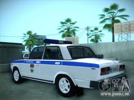Lada 2107 Rendőrség pour GTA San Andreas laissé vue