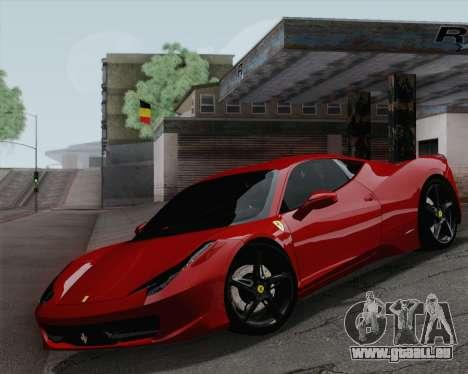 Ferrari 458 Italia 2010 für GTA San Andreas Seitenansicht