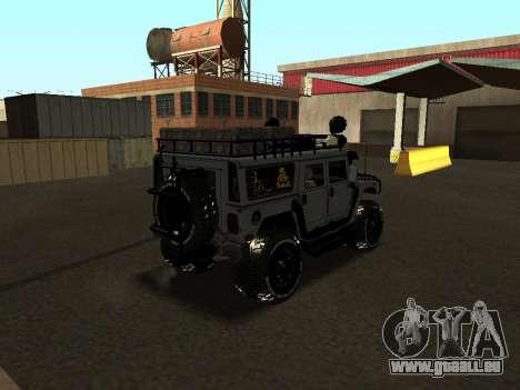 Hummer H1 Offroad pour GTA San Andreas sur la vue arrière gauche