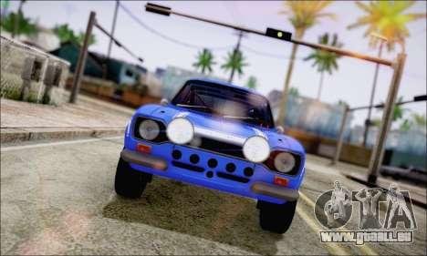 Ford Escort Mk1 RS1600 pour GTA San Andreas sur la vue arrière gauche