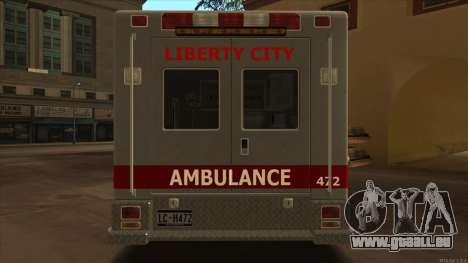Ambulance HD from GTA 3 für GTA San Andreas rechten Ansicht
