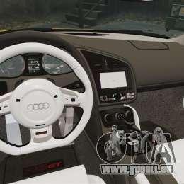 Audi R8 GT Spyder pour GTA 4 est une vue de l'intérieur