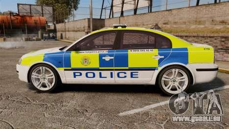 Skoda Superb 2006 Police [ELS] Whelen Justice für GTA 4 linke Ansicht