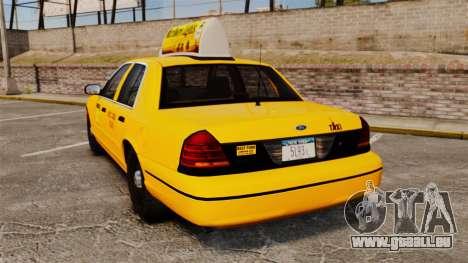 Ford Crown Victoria 1999 NY Old Taxi Design für GTA 4 hinten links Ansicht