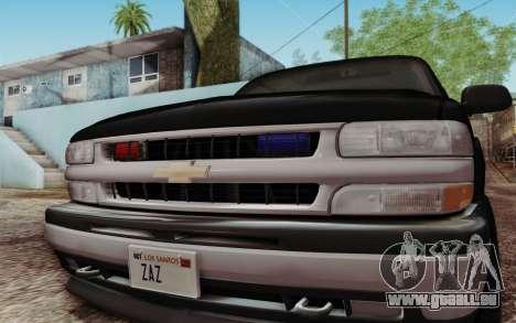 Chevrolet Suburban FBI für GTA San Andreas Rückansicht