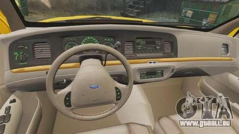 Ford Crown Victoria 1999 GTA V Taxi für GTA 4 Rückansicht