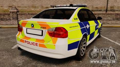BMW 330i Metropolitan Police [ELS] pour GTA 4 Vue arrière de la gauche