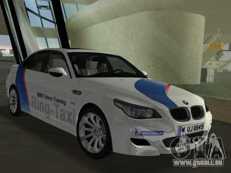 BMW M5 (E60) 2009 Nurburgring Ring Taxi für GTA Vice City zurück linke Ansicht