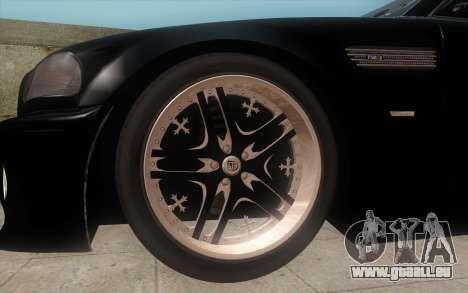 BMW M3 e46 Duocolor Edit pour GTA San Andreas sur la vue arrière gauche