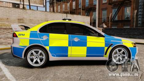 Mitsubishi Lancer Evolution X Police [ELS] für GTA 4 linke Ansicht