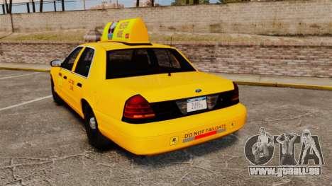 Ford Crown Victoria 1999 LCC Taxi für GTA 4 hinten links Ansicht