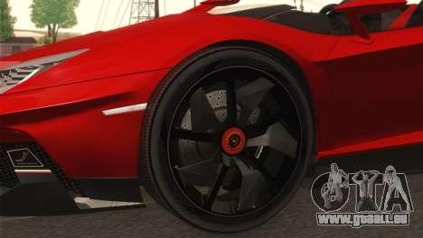 Lamborghini Aventador J 2012 v1.0 pour GTA San Andreas sur la vue arrière gauche