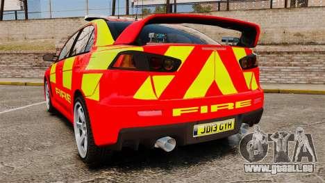 Mitsubishi Lancer Evo X Fire Department [ELS] für GTA 4 hinten links Ansicht