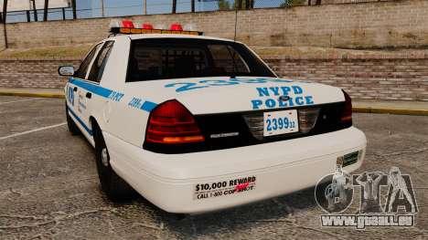Ford Crown Victoria 1999 NYPD für GTA 4 hinten links Ansicht