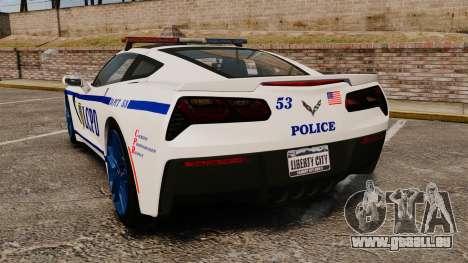 Chevrolet Corvette C7 Stingray 2014 Police pour GTA 4 Vue arrière de la gauche