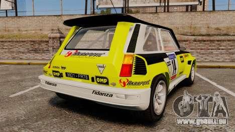 Renault 5 Turbo Maxi für GTA 4 hinten links Ansicht