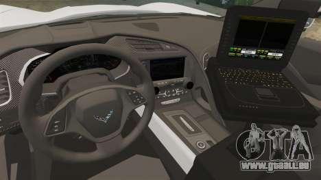 Chevrolet Corvette C7 Stingray 2014 Police pour GTA 4 Vue arrière