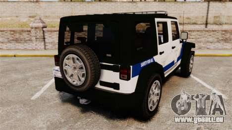 Jeep Wrangler Rubicon Police 2013 [ELS] pour GTA 4 Vue arrière de la gauche