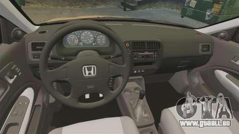 Honda Civic Si 1999 pour GTA 4 est une vue de l'intérieur