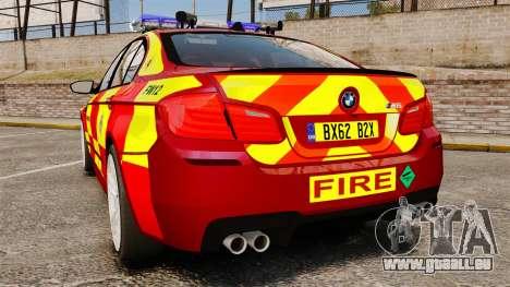 BMW M5 West Midlands Fire Service [ELS] pour GTA 4 Vue arrière de la gauche