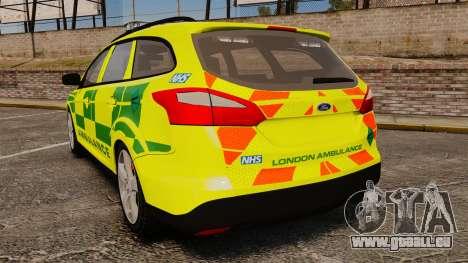 Ford Focus ST Estate 2012 [ELS] London Ambulance pour GTA 4 Vue arrière de la gauche