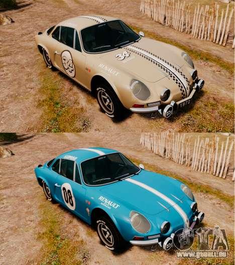Renault Alpine A110 1600 S pour GTA 4 est une vue de dessous
