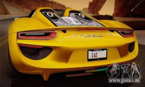 Porsche 918 Spyder 2014 pour GTA San Andreas roue