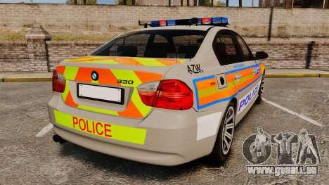 BMW 330 Metropolitan Police [ELS] pour GTA 4 Vue arrière de la gauche