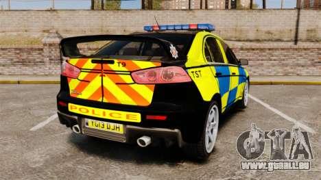 Mitsubishi Lancer Evolution X Uk Police [ELS] für GTA 4 hinten links Ansicht