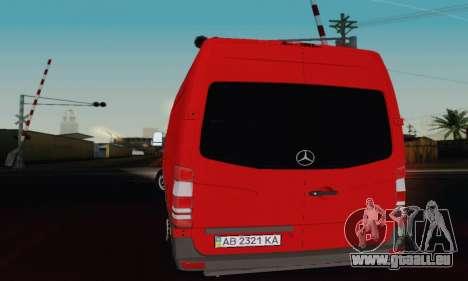 Mersedes-Benz Sprinter für GTA San Andreas zurück linke Ansicht