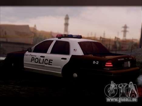 Ford Crown Victoria 2005 Police für GTA San Andreas zurück linke Ansicht
