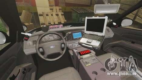 Ford Crown Victoria 2011 LCSHP [ELS] pour GTA 4 est une vue de l'intérieur