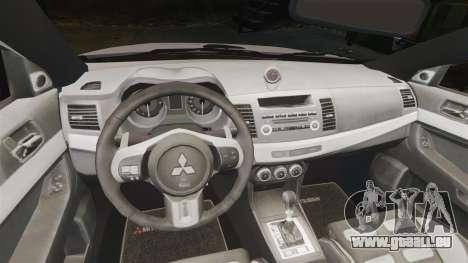 Mitsubishi Lancer Evolution X Police [ELS] pour GTA 4 est une vue de l'intérieur