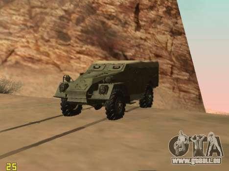 BTR-40 pour GTA San Andreas sur la vue arrière gauche