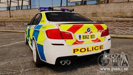 BMW M5 Marked Police [ELS] pour GTA 4 Vue arrière de la gauche