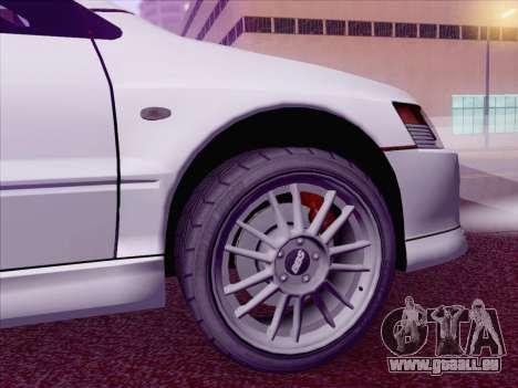 Mitsubishi Lancer Evo IX MR Edition für GTA San Andreas zurück linke Ansicht