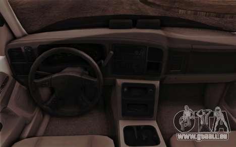 Chevrolet Suburban FBI pour GTA San Andreas vue intérieure