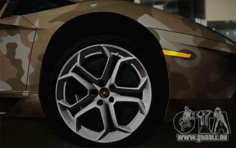 Lamborghini Aventador LP 700-4 Camouflage pour GTA San Andreas sur la vue arrière gauche