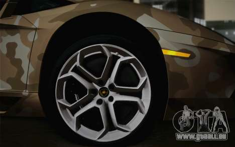 Lamborghini Aventador LP 700-4 Camouflage für GTA San Andreas zurück linke Ansicht