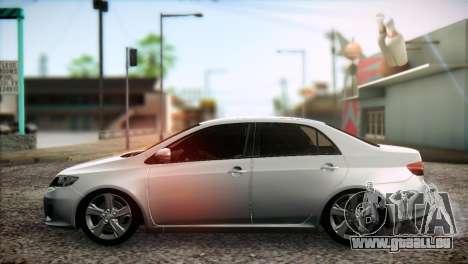 Toyota Corolla 2012 pour GTA San Andreas sur la vue arrière gauche