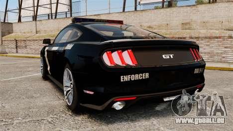 Ford Mustang GT 2015 Police pour GTA 4 Vue arrière de la gauche