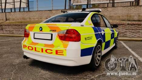 BMW 330i Hampshire Police [ELS] pour GTA 4 Vue arrière de la gauche