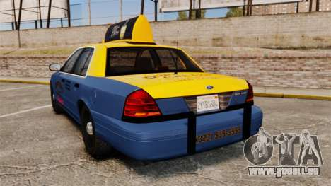 Ford Crown Victoria 1999 GTA V Taxi für GTA 4 hinten links Ansicht