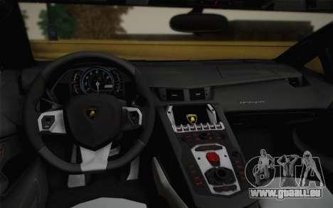 Lamborghini Aventador LP 700-4 Camouflage für GTA San Andreas Innenansicht