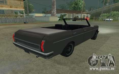Perennial Cabriolet pour GTA San Andreas sur la vue arrière gauche